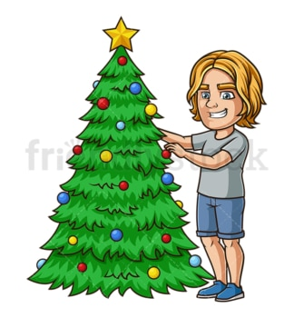 Man decorating christmas tree. PNG - JPG and vector EPS (infinitely scalable).