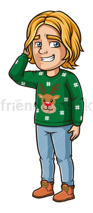 Man wearing ugly christmas sweater. PNG - JPG and vector EPS (infinitely scalable).