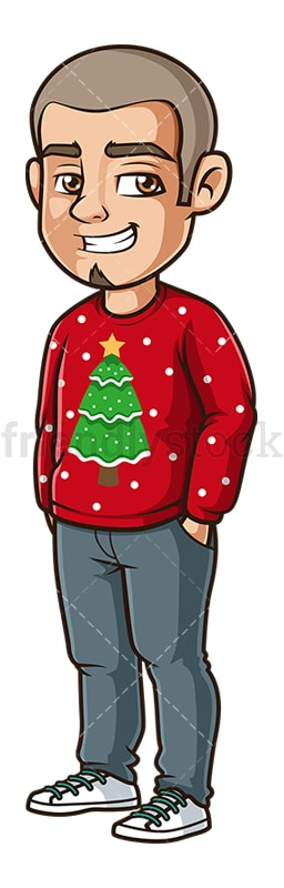 Hispanic man wearing ugly xmas sweater. PNG - JPG and vector EPS (infinitely scalable).