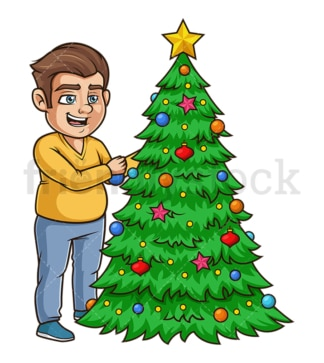 Chubby guy decorating christmas tree. PNG - JPG and vector EPS (infinitely scalable).