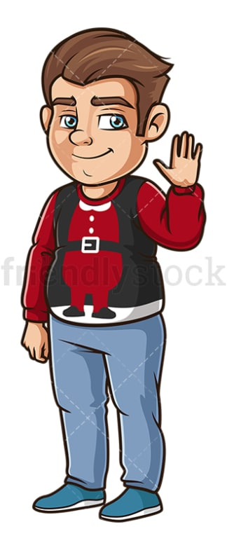 Man wearing funny christmas sweater. PNG - JPG and vector EPS (infinitely scalable).