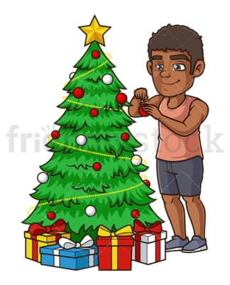 Black man decorating christmas tree. PNG - JPG and vector EPS (infinitely scalable).