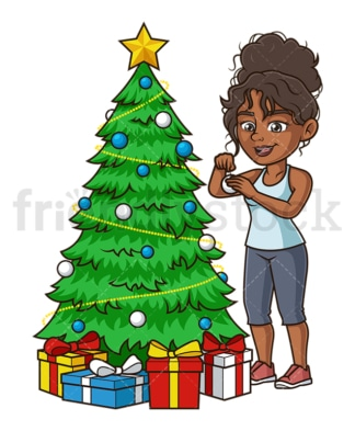 Black woman decorating christmas tree. PNG - JPG and vector EPS (infinitely scalable).