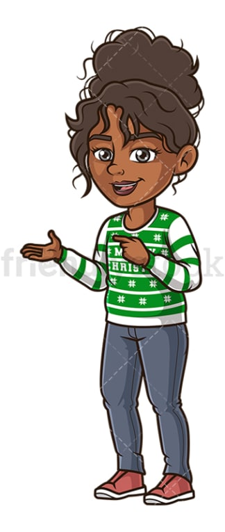 Black woman ugly christmas sweater. PNG - JPG and vector EPS (infinitely scalable).