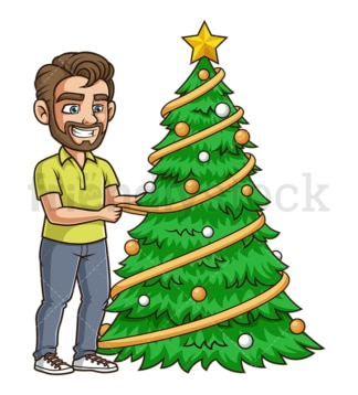 Dude decorating christmas tree. PNG - JPG and vector EPS (infinitely scalable).