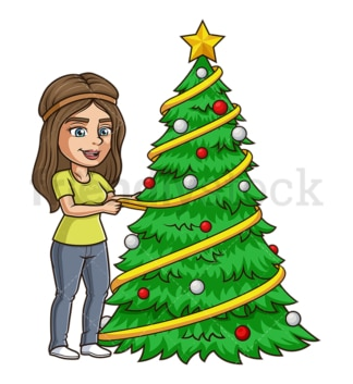 Gal decorating christmas tree. PNG - JPG and vector EPS (infinitely scalable).
