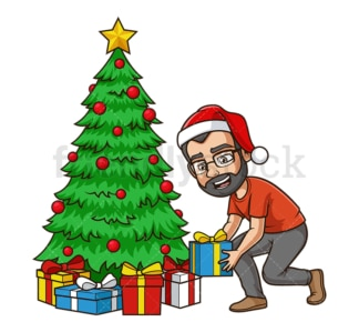 Dad decorating christmas tree. PNG - JPG and vector EPS (infinitely scalable).
