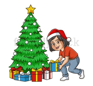 Mom decorating christmas tree. PNG - JPG and vector EPS (infinitely scalable).