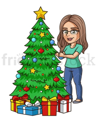 Cheerful girl decorating christmas tree. PNG - JPG and vector EPS (infinitely scalable).