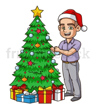 Cheerful guy decorating christmas tree. PNG - JPG and vector EPS (infinitely scalable).