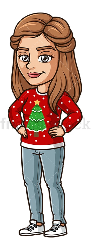 Woman wearing ugly xmas sweater. PNG - JPG and vector EPS (infinitely scalable).