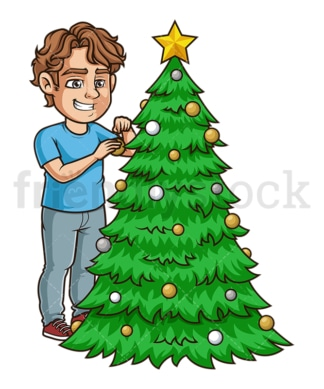 Young man decorating xmas tree. PNG - JPG and vector EPS (infinitely scalable).