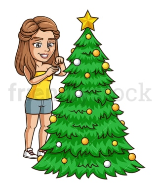 Young woman decorating xmas tree. PNG - JPG and vector EPS (infinitely scalable).